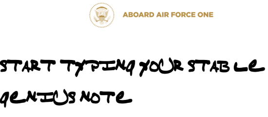 start typing your note to convert in Trump handwriting