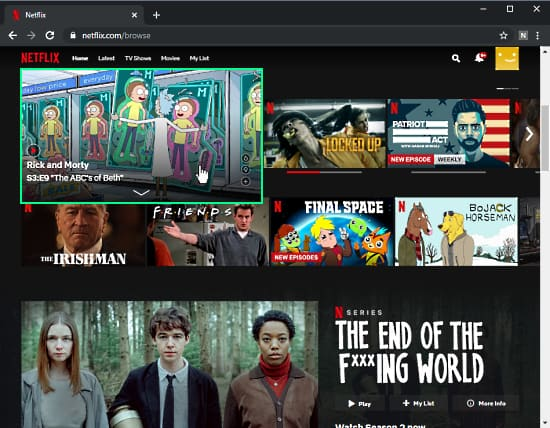 disable preview autoplay on netflix