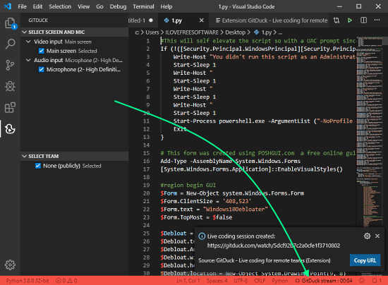 stream coding sessions from vs code for remote teams