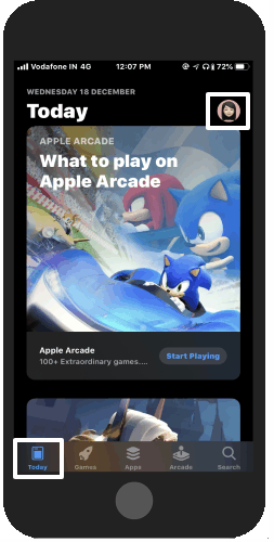 Open your iPhone App Store and tap on your Avatar