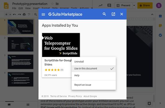 use teleprompter in google slides