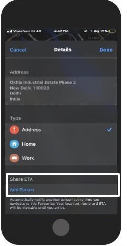automatically share ETA with dear ones