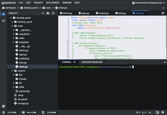 cloud-based ide with custom programming environments