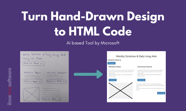 Convert Hand-Drawn Design into HTML Code Free with AI from Microsoft