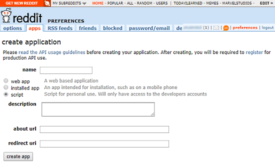 create reddit app