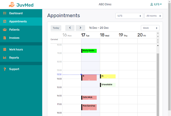 manage clinical appointments, patients, staff