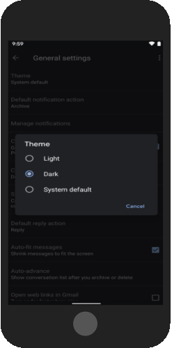 go to settings to enable dark mode for gmail