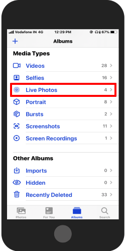 open Album in Photos app and tap Live photos