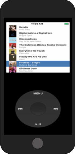 play songs using iPod wheel click button on iPhone
