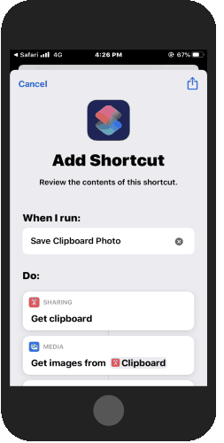run save clipboard photo shortcut