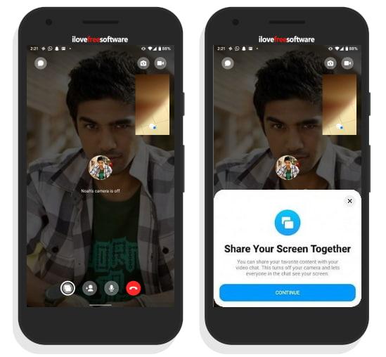 share screen using facebook messenger