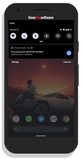 share clipboard notification on android
