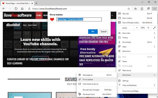 Jak przypiąć strony internetowe do paska zadań za pomocą Microsoft Edge Chromium