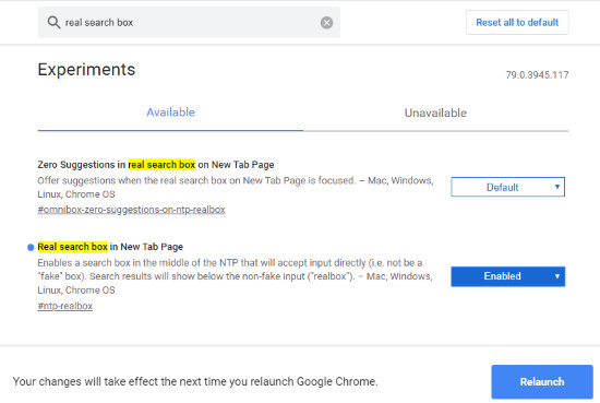 activate real search box in Google Chrome