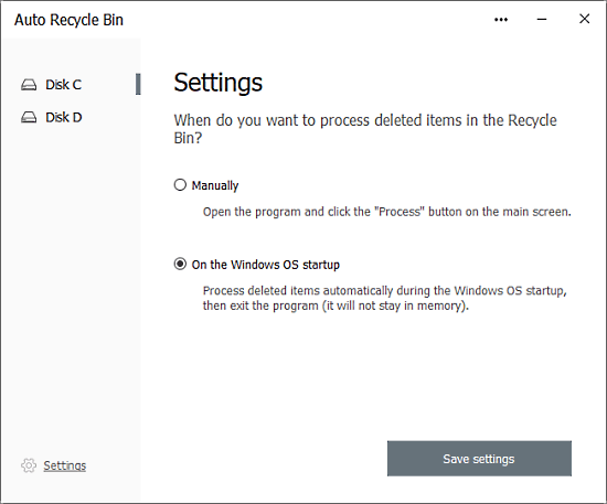 empty recycle bin automatically on windows boot