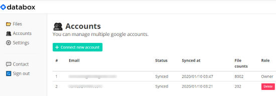 connect multiple accounts to sync Drive files