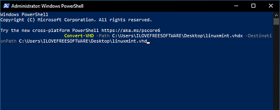 Convert Hyper-V VHDX file to VHD using PowerShell