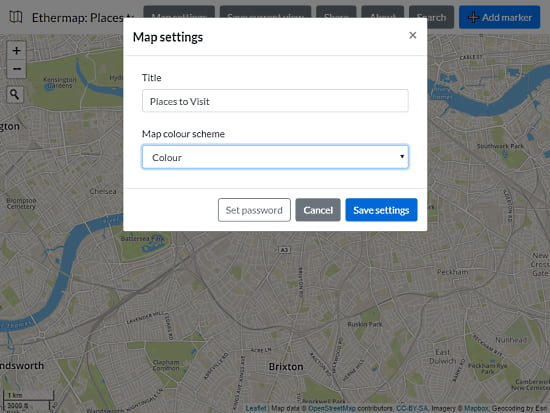 create share maps with password protection