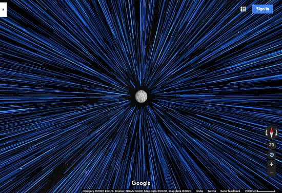 google maps hyperspace with space travel animation