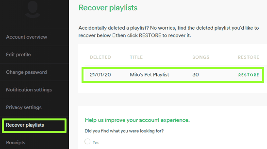 find option to recover deleted Spotify playlists