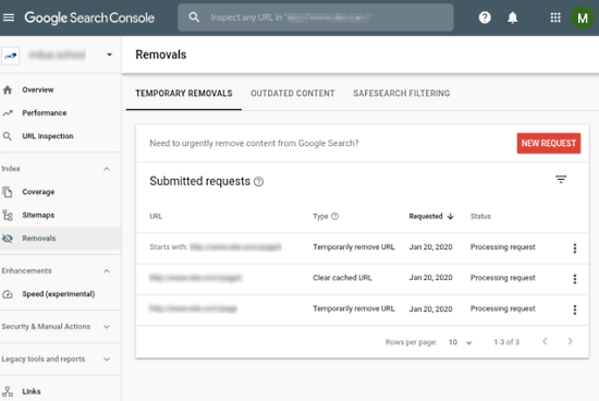 google search console removal tool