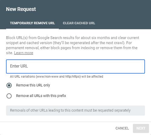 narzędzie do usuwania w konsoli wyszukiwania google