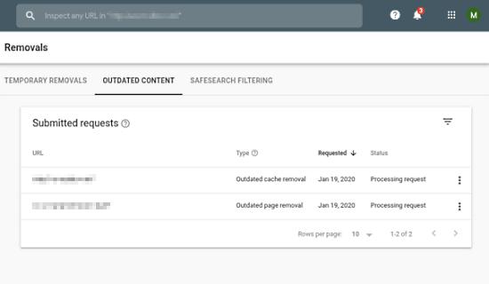 google search console removal request