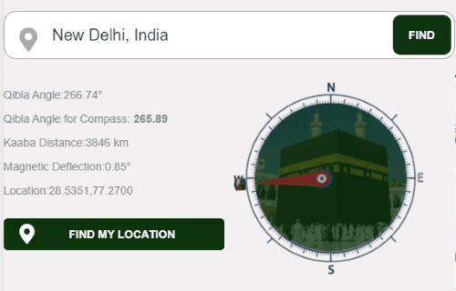qibla direction finder online