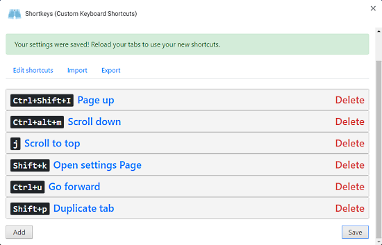 shortcuts in chrome