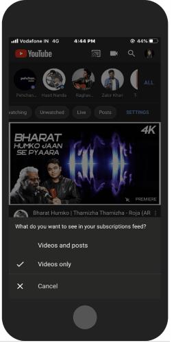 posortuj swój kanał według wideo lub wideo i postów