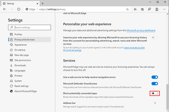 Block Unwanted Apps in Edge Chromium with New Crapware Blocker feature 2