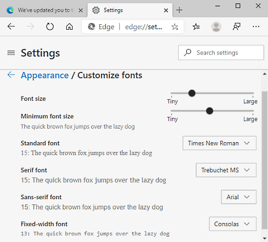 How to Change Font in Microsoft Edge Chromium Image 2