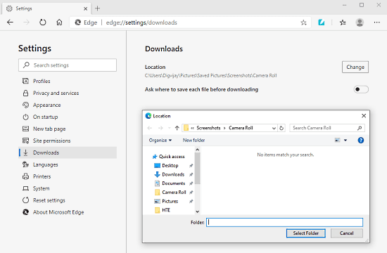 How to Change the Default Download Location in Microsoft Edge Chromium 1