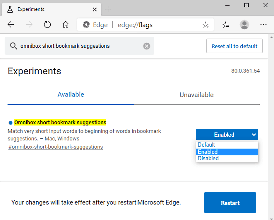How to Enable Short Bookmark Suggestions in Omnibox of Edge Chromium 1