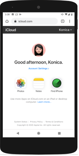 access iCloud services on Android phone
