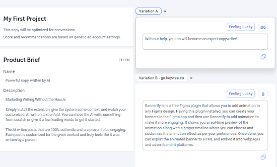 Free Copywriting Tool for Facebook, LinkedIn Ads using AI