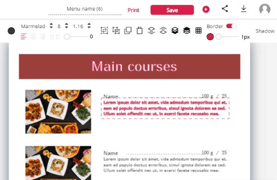 customize menu card online