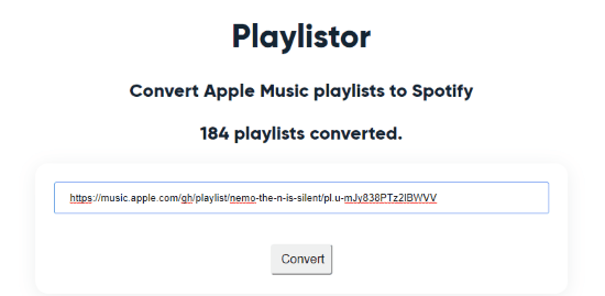enter the link of Apple Music to convert it to Spotify