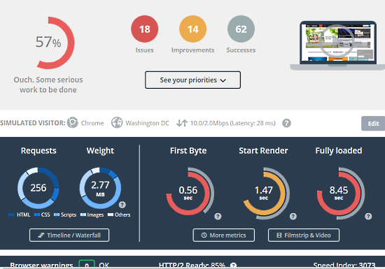 measure ttfb of website - dareboost