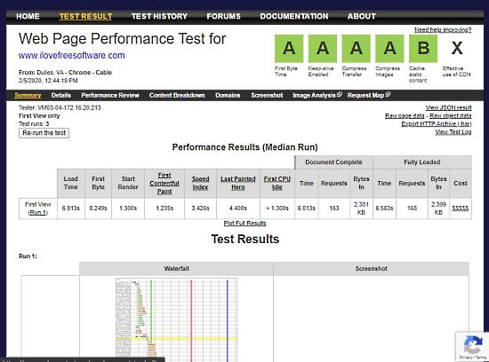measure ttfb of website - webpagetest