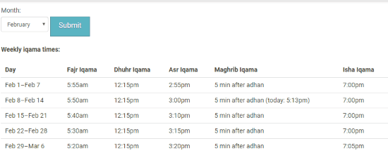 see Islamic prayer times online