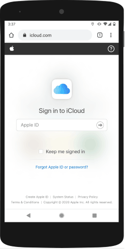 signin to your iCloud account on Android