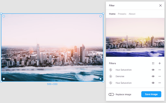 use the set of filters to apply on Figma images