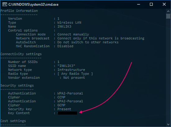 view saved wifi password using command prompt