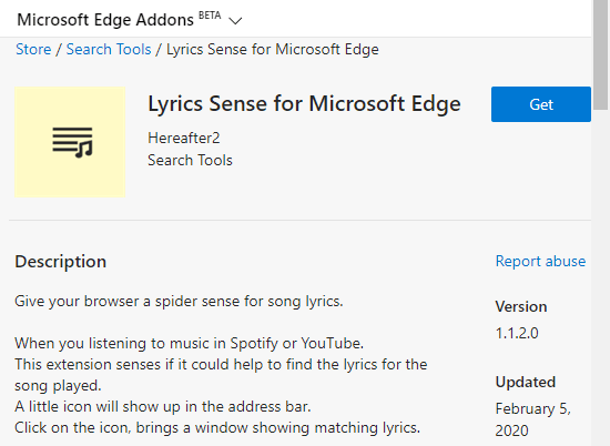Get Song Lyrics on Spotify, YouTube in Microsoft Edge Chromium 1
