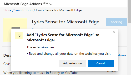 Get Song Lyrics on Spotify, YouTube in Microsoft Edge Chromium 2