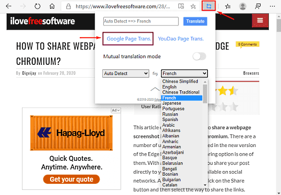 How to Translate Any Website in Microsoft Edge Chromium 3
