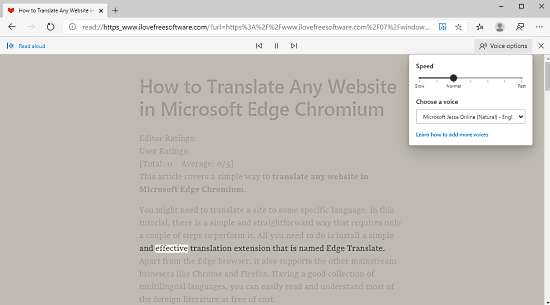 Listen to Webpages with 'Read Aloud' Feature in Microsoft Edge Chromium 2
