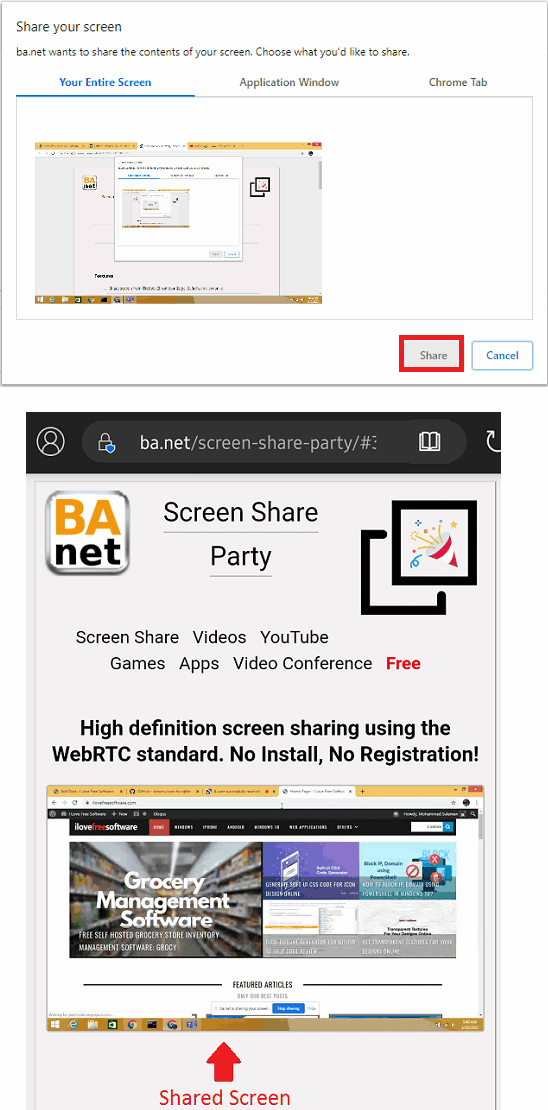 Screen Share Party in action