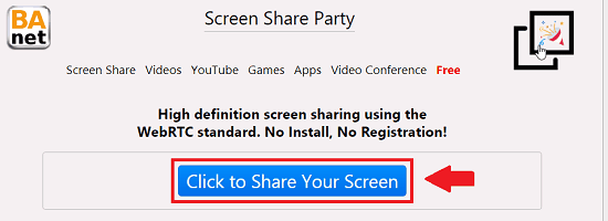 Screen sharing button